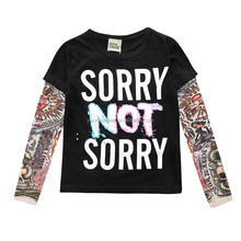 SH09 Baby boys and girls clothing long sleeved hip-hop tattoo sleeve splicing t-shirt