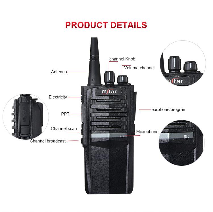 Mstar M-698 High Power Handheld Hotel Two Way Fm Wireless Radio Voice Scrambler Walkie Talkie