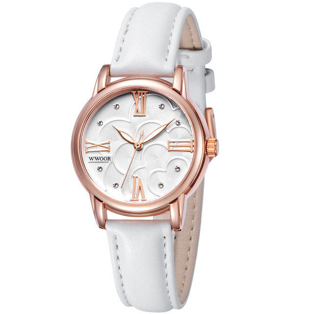 Brand wwoor Luxury Women's Watches white Leather Rose Gold Casual Quartz Ladies Diamonds wrist watch