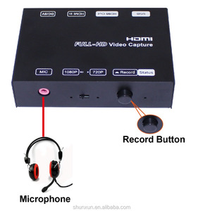 1080p game video capture box, with extra audio Microphone input together with gameplay video