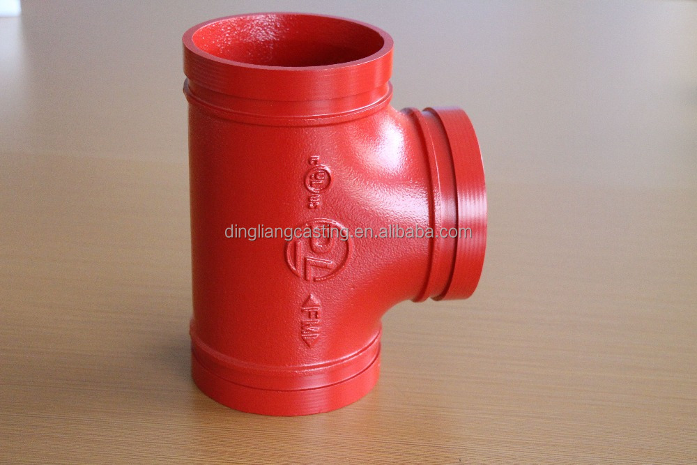 FM UL Approved ductile iron Pipe Fitting equal tee long radius, Water Supply and Sewage usage