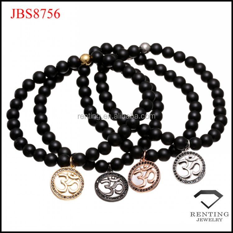 natural matte black onyx yoga cz diamond charm beaded bracelet