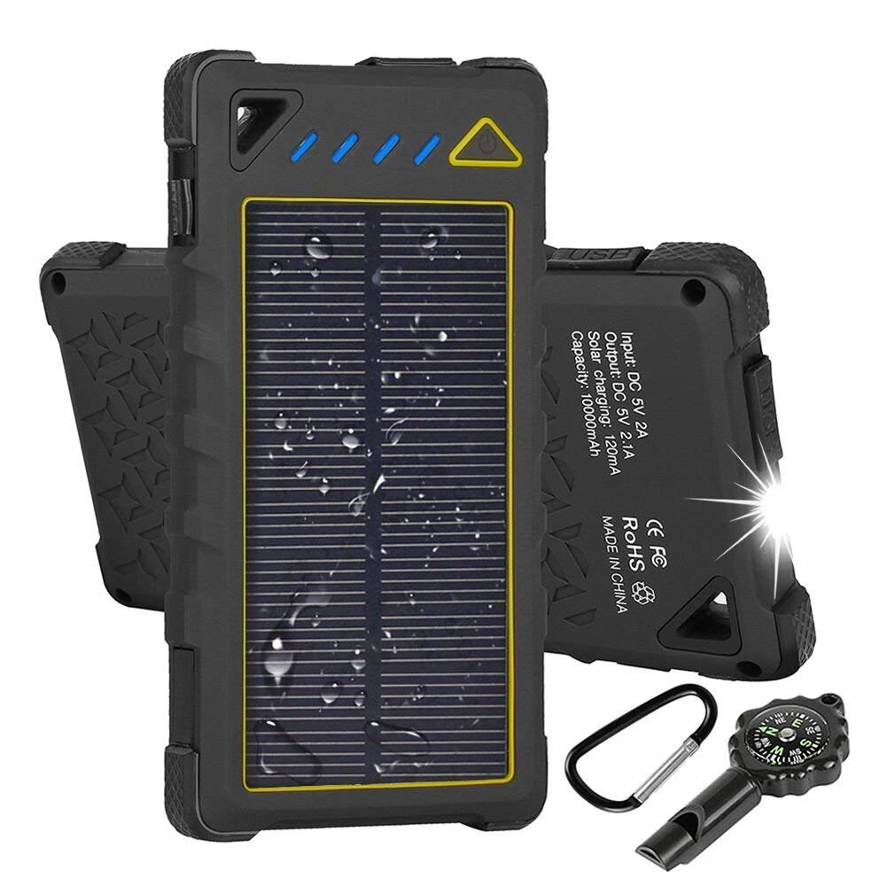 Hobest Solar Charger 10000mAh,Water-Resistant Outdoor Solar Power Bank with LED Flashlight,Dual USB Portable Charger Solar for Smartphones,GoPro Camera,GPS and Emergency Travel (Yellow)
