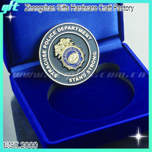 Customized metal old token coin, safety token coin, enamel token coins with velvet box packing