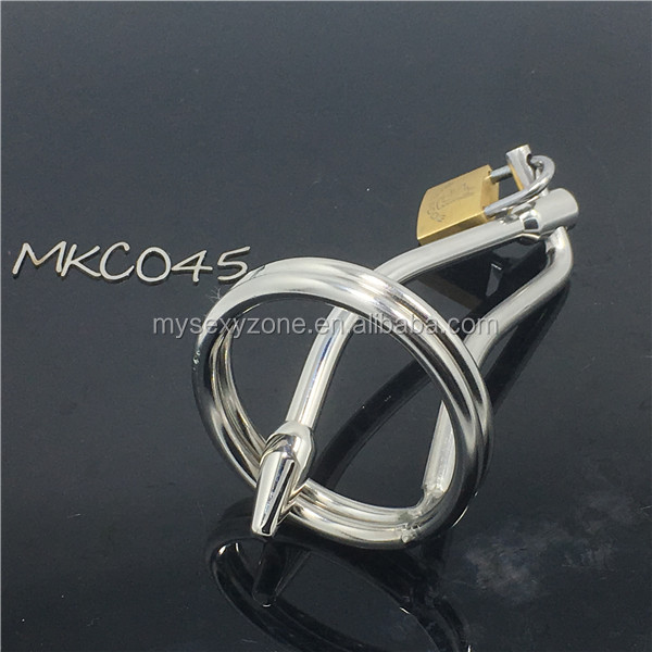 Stainless steel male chastity device penis plug catheter sound cock cage men chastity belt penis lock sex toys C045
