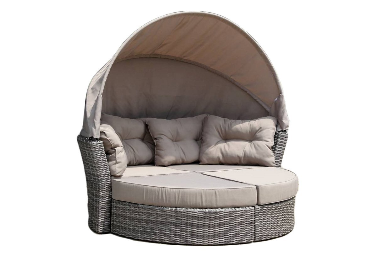 Hospitality Rattan Sapphire Outdoor Collection Canopy Daybed, Grey Wicker with Taupe Cushions & Canopy