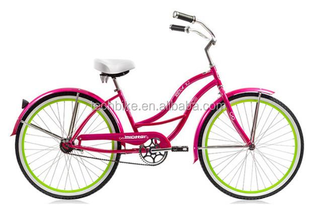 New Design Colorful Girls Beach Cruiser Bike 24 Inch Single Speed