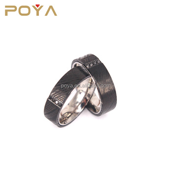 POYA Jewelry 6mm Wide Damascus Steel Ring Beautifully Etched Damascus Steel Bands Wedding Rings with Black Cubic Zirconia Inlay