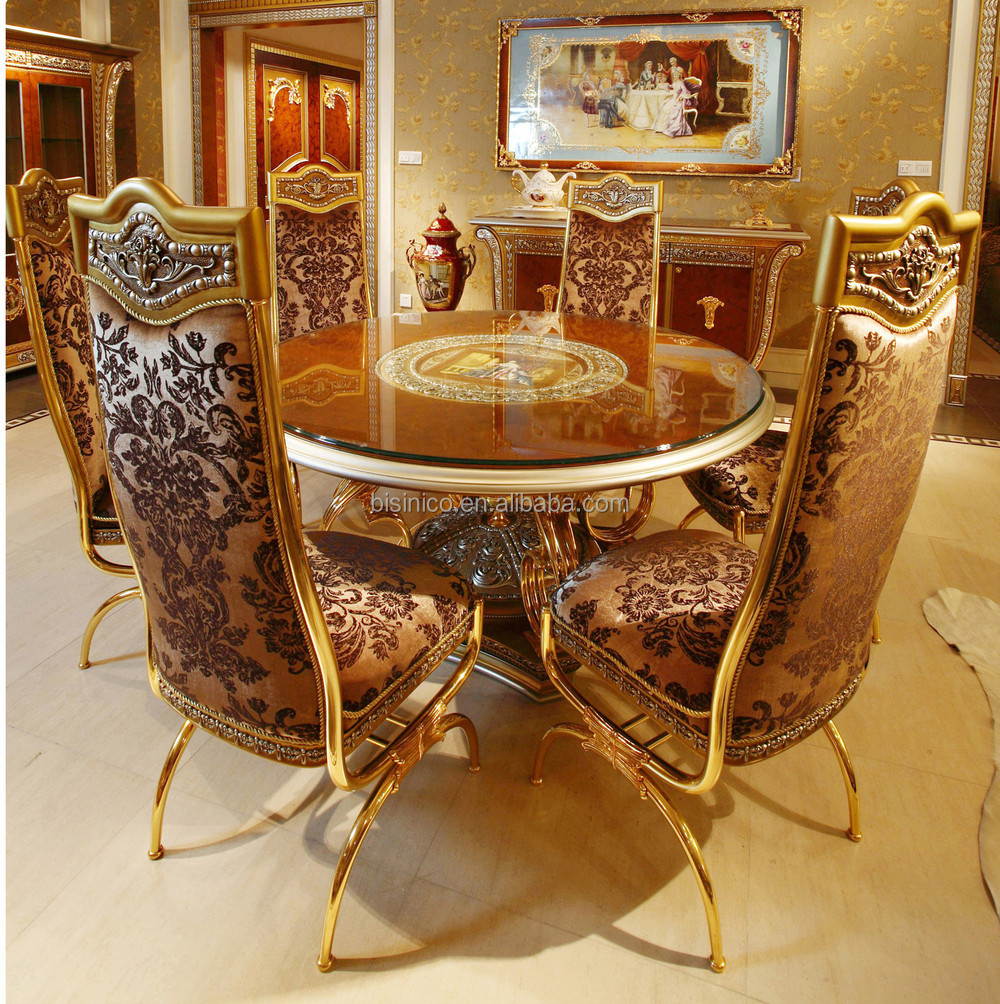 French baroque furniture - Luxury French Baroque Style Home Dining Room Sets Antique Golden Gorgeous Wood Carving Dining Table