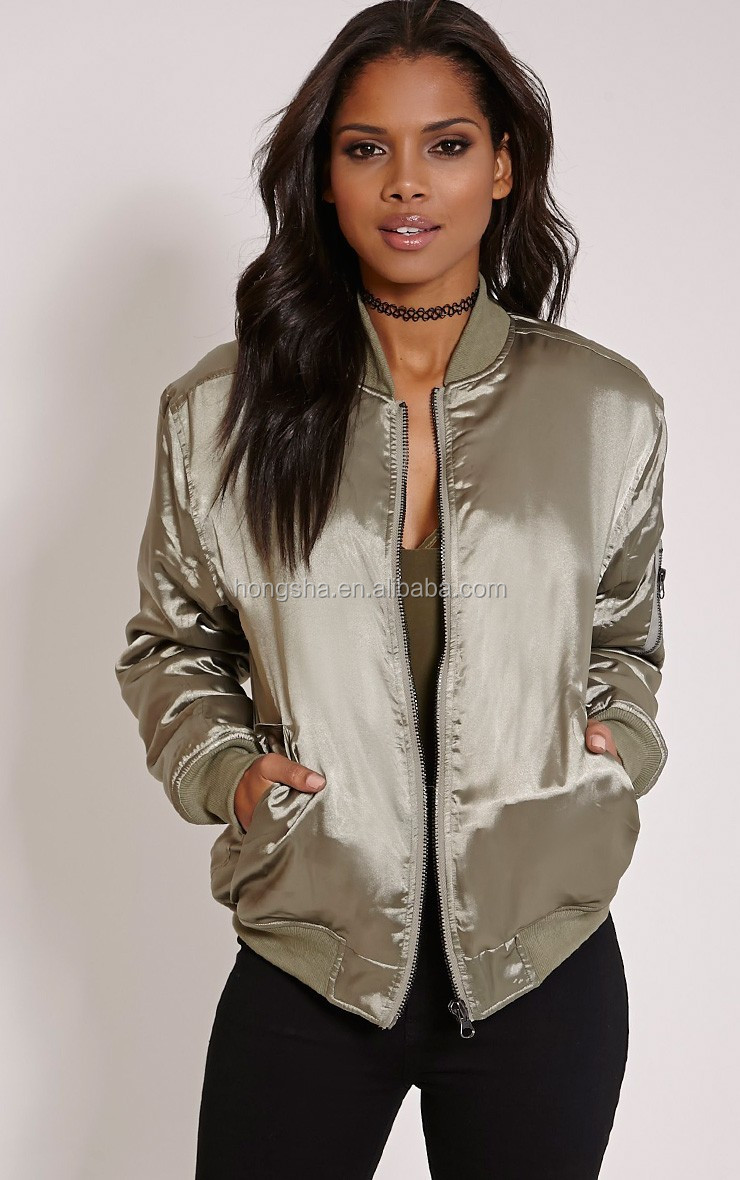 fashion kahki satin bomber jacket cool winter women jacket