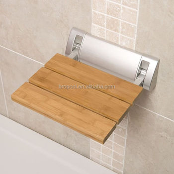 Folding Shower Seat Wooden Wall Mounted Bench Bathroom Stool - Teak Wood /  Stainless Steel