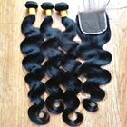 Peruvian brazilian body wave virgin human hair bundles with closure