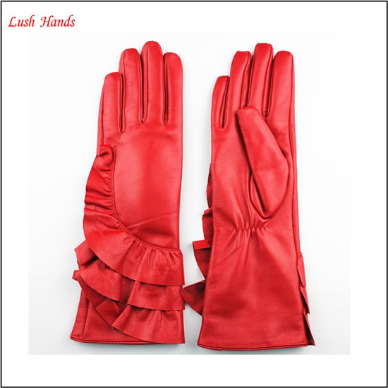 2016 lady's fashion high-quality long red leather gloves with wholesale price