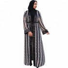 2018 Fashion New Modest Dubai Abaya Printing Silk Chiffon Islamic Open Abaya