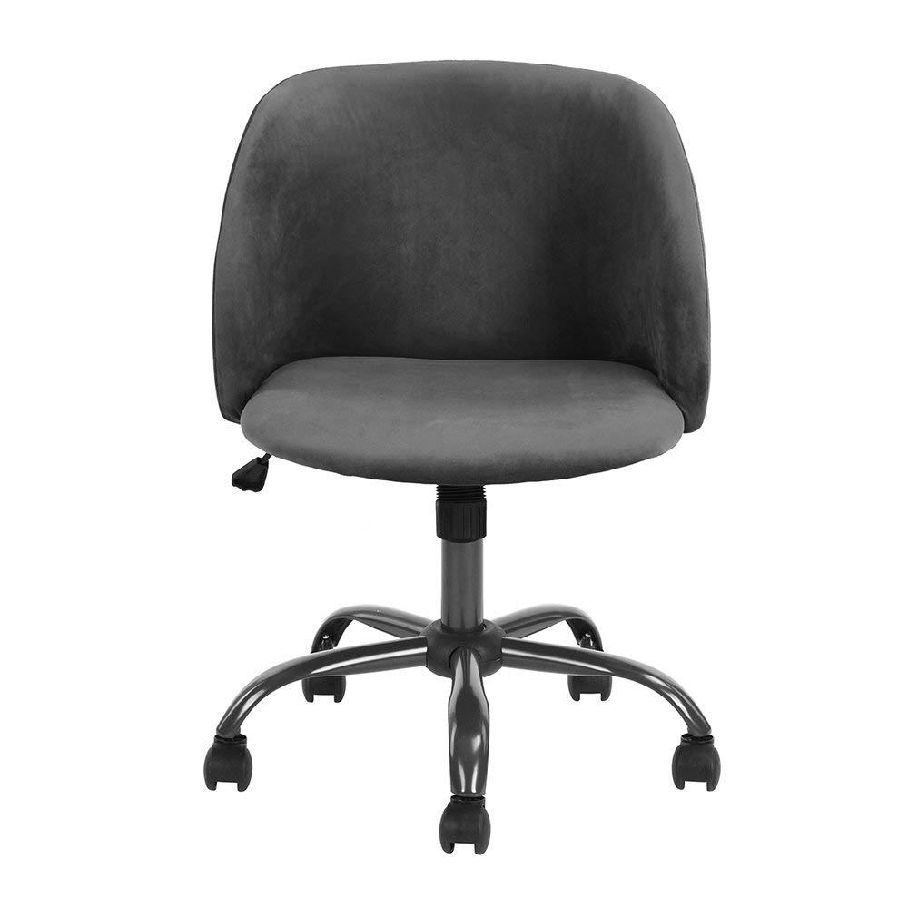 HOMY CASA | Swivel Work Office Desk Task Chair | Mid Century Modern Mid-Back Height Adjustable Upholstered Velvet Foam Cushion Seat with 360 Rotation & Castor Wheels (Grey)