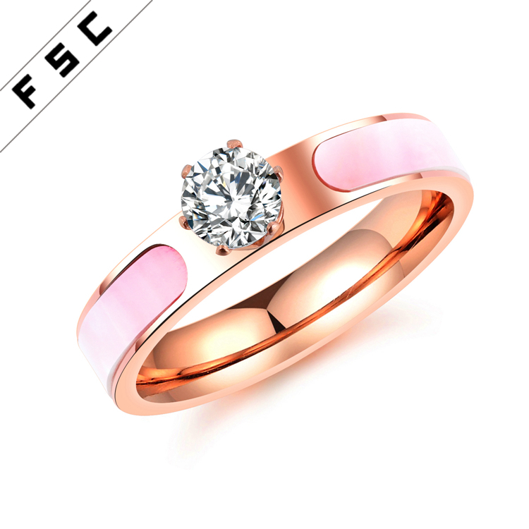 High Quality Gold Plated Stainless Steel Jewelry Diamond One Stone Zircon Engagement Ring