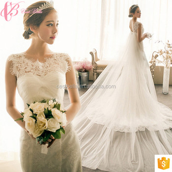 Cotton Mermaid Long Tail Comfortable Wedding Dress 2017 Luxury For Fat Bride