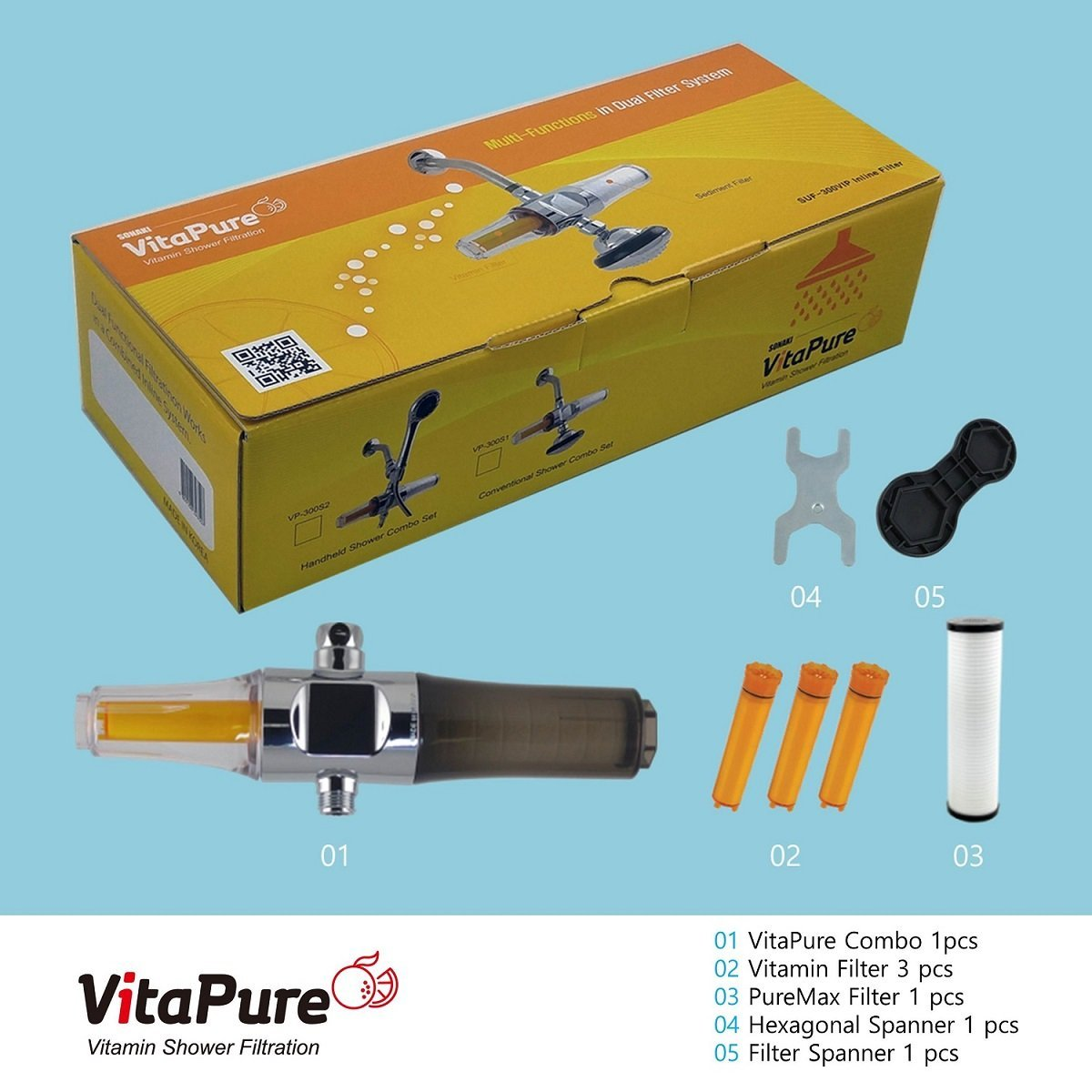 VitaPure Combo Shower & Water Filter, SUF-300VPX Premium for Anti-Bacteria & Dechlorination, Removing Contaminants & Heavy Metals in the water