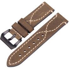 Ремешок для наручных часов ручной работы из натуральной кожи для мужчин и женщин, черный, коричневый, зеленый, серый, 22 мм, 24 мм, толстый ремеш...(Китай)