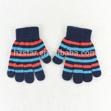 HZS-13039001 fashion stripe winter magic gloves for kid cotton knitted hand gloves