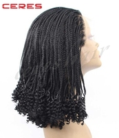 afro black half braid and half curly long synthetic lace front braided wig braided headband wig