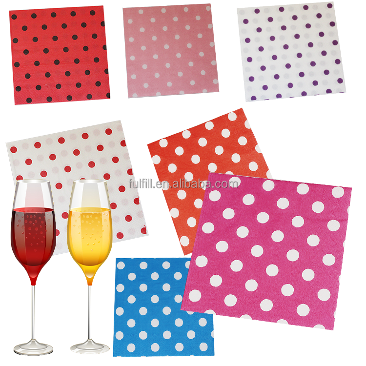 Yiwu Factory 33*33cm folding dotted napkins decorative paper serviettes manufacturer