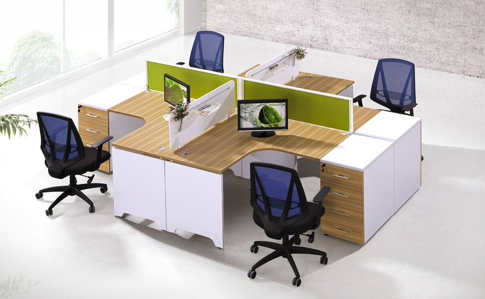 mobilier commercial accessoires en bois modulaire bureau du personnel de bureau pour 4 personnes. Black Bedroom Furniture Sets. Home Design Ideas