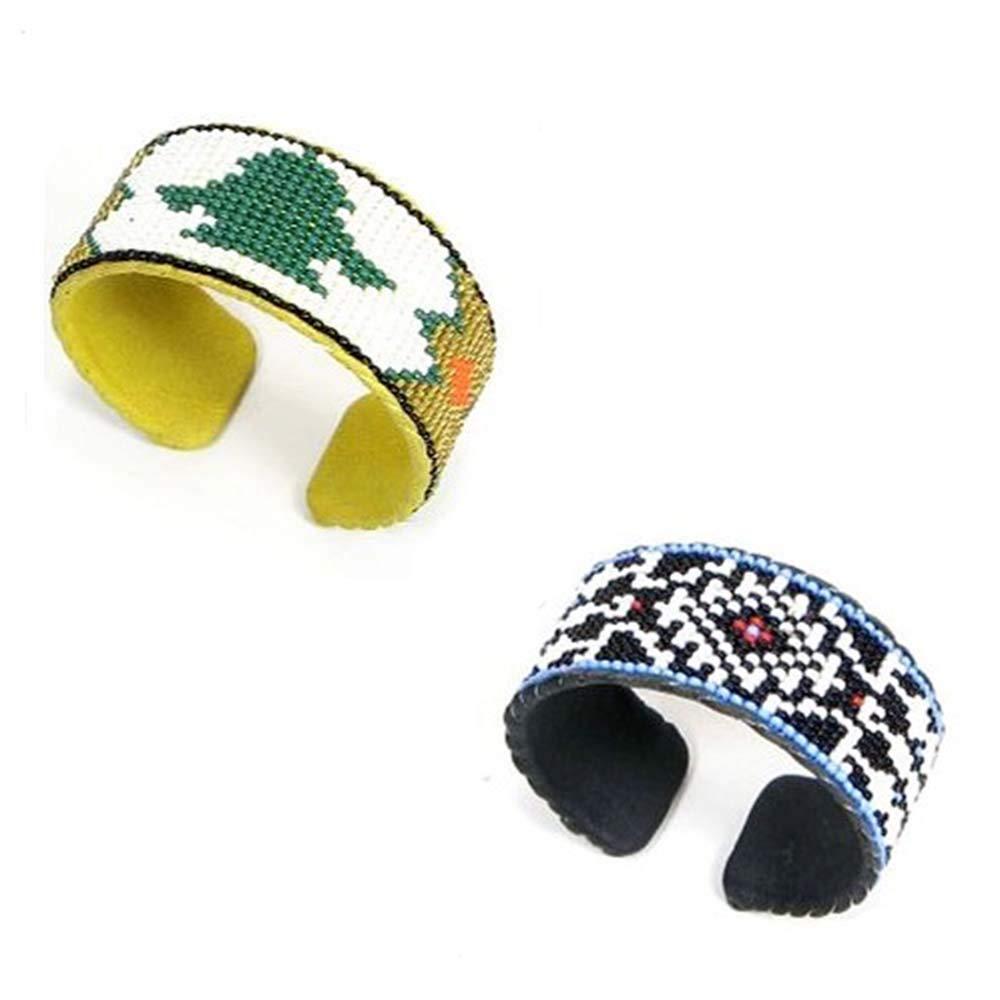 La vivia Handmade Navajo Design Seed Beaded Cuff Bracelet Leather Wholesale LOT of 2