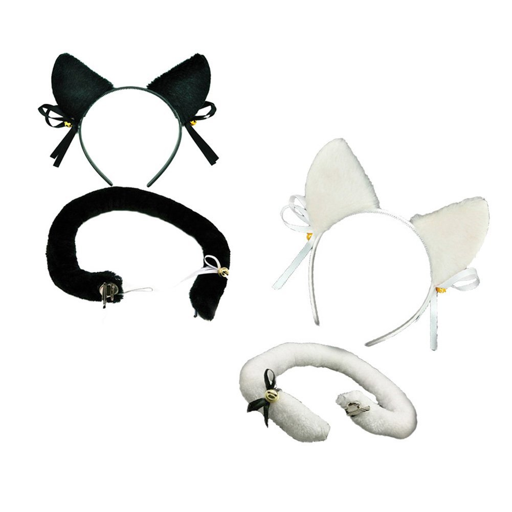 Buy Steve Yiwu 2pair Black And Ivory Cosplay Costume Cat Ears And