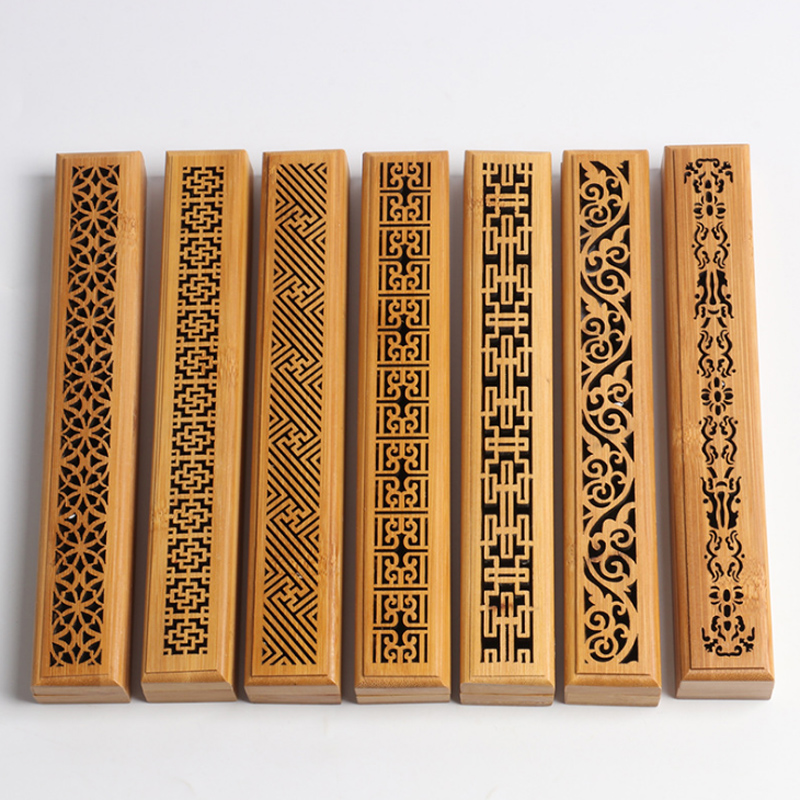 Factory Bamboo Incense Burner Hand Incense Holder Carving Hollow Stick Box Lying Censer With Wooden Box Home Decor