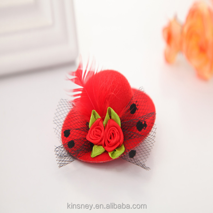 KS20685A Hot sale 7cm size girls fashion feather small hat hairpin wholesale