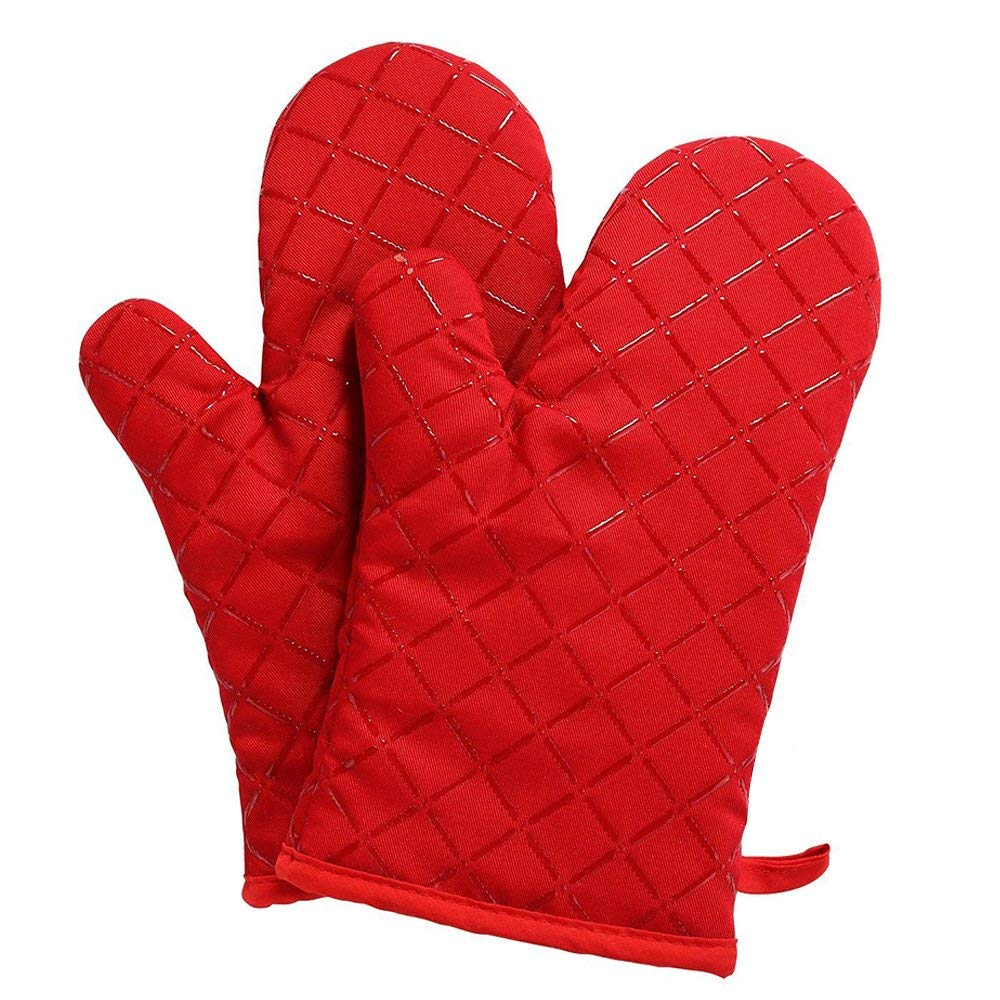 Fashion-family silicone oven mitt, oven mitts set, double oven mitt, oven mitts for men, kitchen oven mitts, Non-slip Silicone Potholder for Cooking, Baking, Grilling, Holding Pot, oven mitts Red