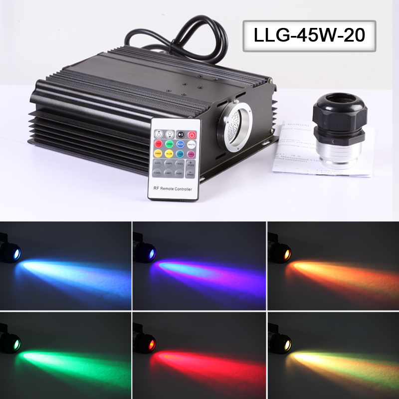 Factory 45w multi color led optic fiber light source for sky projector lights