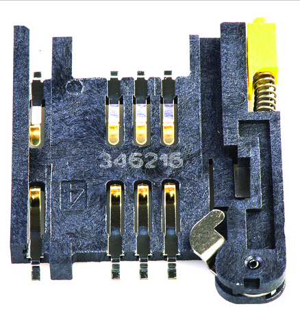 2.54mm pitch memory card socket connector 91228-3001 molex 6 pin sim card connector 91228 series without pegs yellow button
