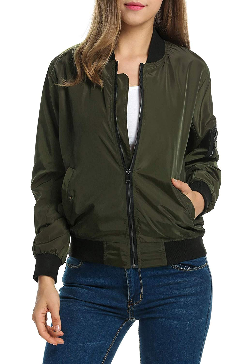 19da8ed3eac0 Get Quotations · Vanilo Ladies Bomber Jacket Military Green Bomber Jacket  Casual Jackets