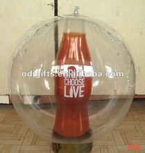 Advertisement inflatable ball with 3D bottle inflated ball bottle inside PVC air ball bottle inside