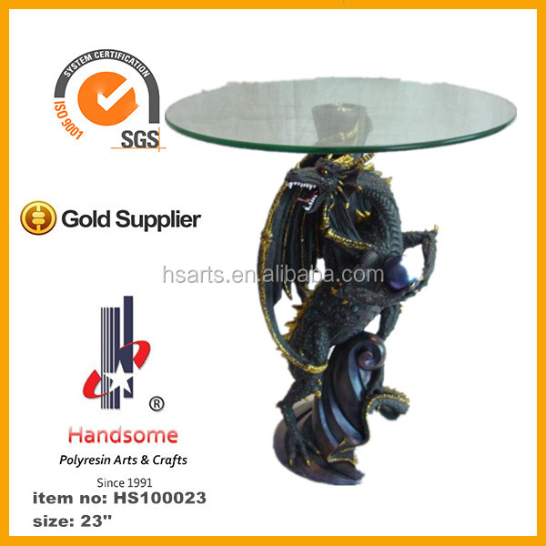 24''Polyresin animal statue glass decorative tea table