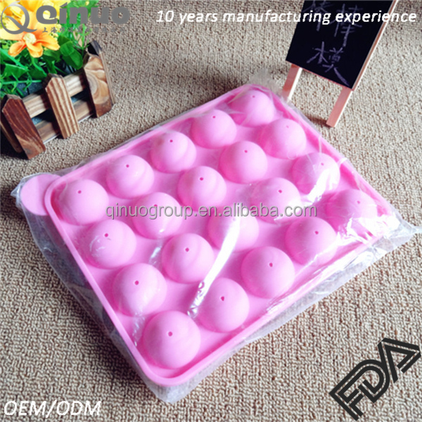 Free Shipping hot sale 20 cavities FDA <strong>silicone</strong> round 2pcs per set (with 20pcs sticks) lollipop mould ice mold
