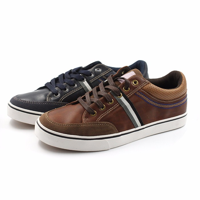 pu upper men shoes brown navy colours