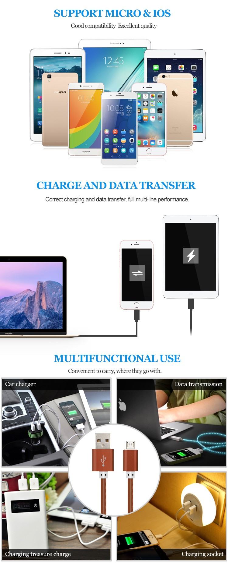 For iphone charger usb cable mobile creative sync data micro usb cable