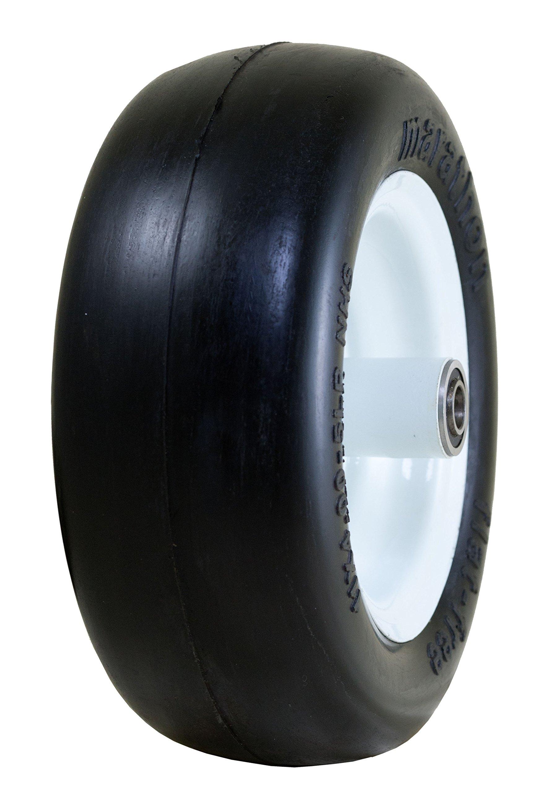 "Marathon 11x4.00-5"" Flat Free Tire on Wheel, 5"" Hub, 1/2 Bearings"