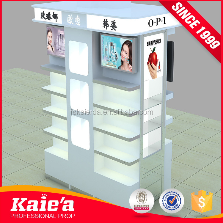 Beautiful design wooden gondola acrylic cosmetic display for kiosk