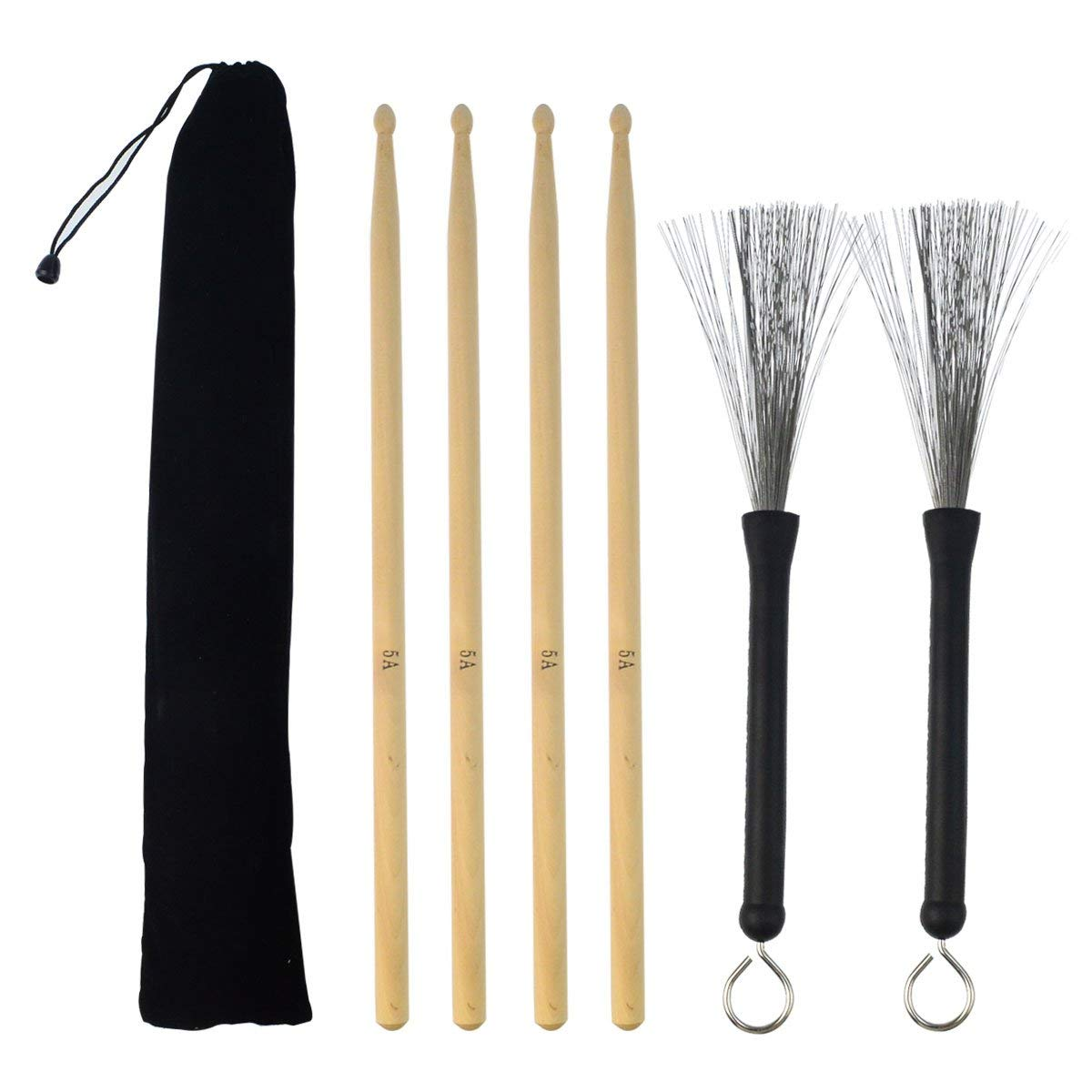 2 Pair 5A Drum Sticks and 1 Pair Drum Wire Brushes, Wobe Classic Maple Wood Drumsticks Sets Retractable Drum Sticks Brush with Storage Bag Student Drum Sticks