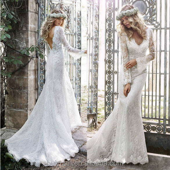 Charming Low Back Cut Long Sleeve Lace Grecian Style Wedding ...
