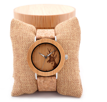 Best price and custom logo deer design exotic engraved wooden watch cheap price watches