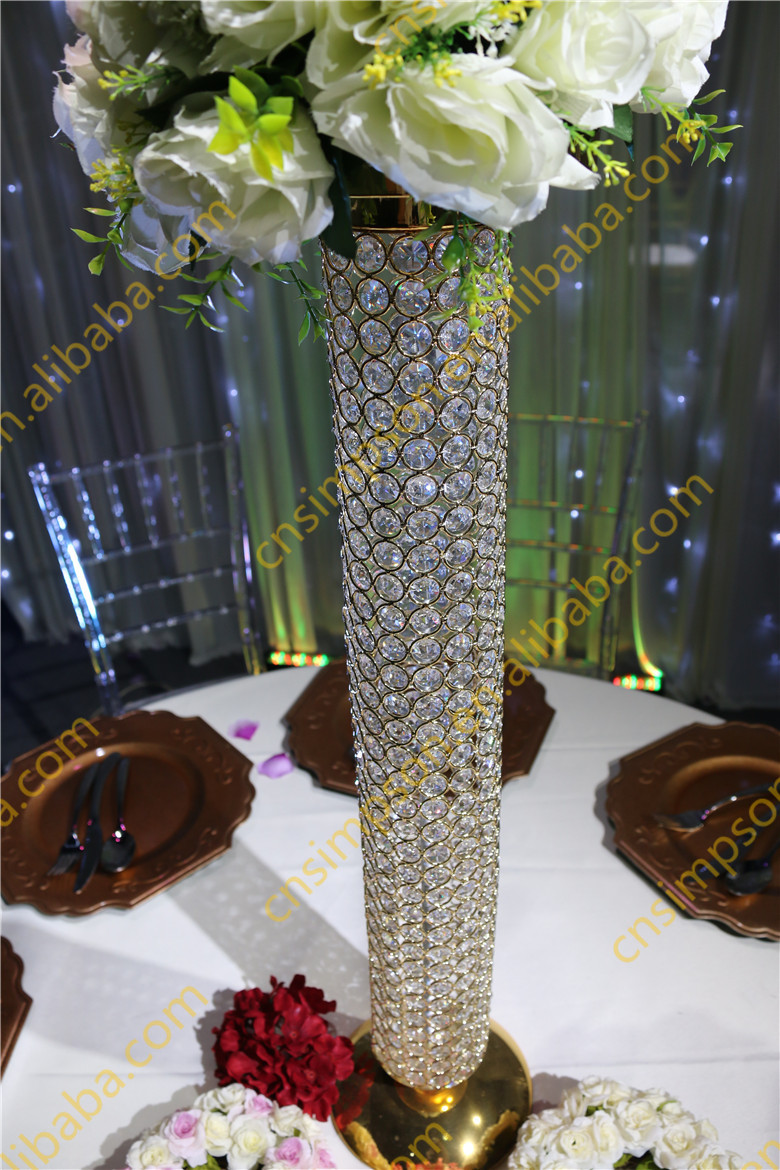 Golden crystal beaded pillar crystal vases for wedding for Buy wedding centerpieces