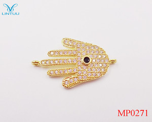 Fashionable Hamsa Symbol Hand Gold Plated Zircon Evil Eye Hand Connector Spacer Charms