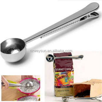 Stainless Steel Coffee Scoop With Bag Clip Sealing Ground Measuring Spoon