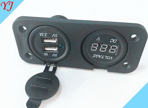 Three Outlets multiple power socket with voltmeter and USB charging ports