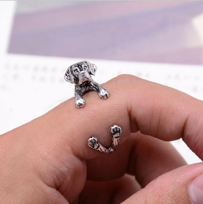 New Arrial Vintage Anillos Adjustable Beagle Ring Fashion 3D Animal Rings Bague Bijoux Party Gift DWJZ342